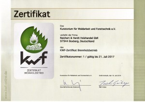 KWF-ZErtifikat für Brennholzbetriebe